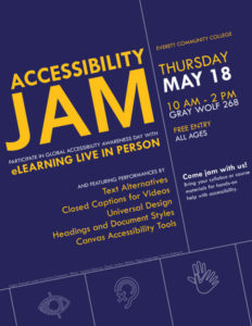 Poster for Accessibility Jam, with orange and white text, displayed on a slight angle, on a purple background. Decorative accessibility icons appear at the bottom of the poster. Full text reads: 'Accessibility Jam. ELearning live in person and featuring performances by Text Alternatives, Closed Captions for Videos, Universal Design, Headings and Document Styles, Canvas Accessibility Tools. Thursday May 18, 10 a.m. - 2 p.m., Gray Wolf 268. Free entry, all ages. Come jam with us! Bring your syllabus or course materials for hands-on help with accessibility.'
