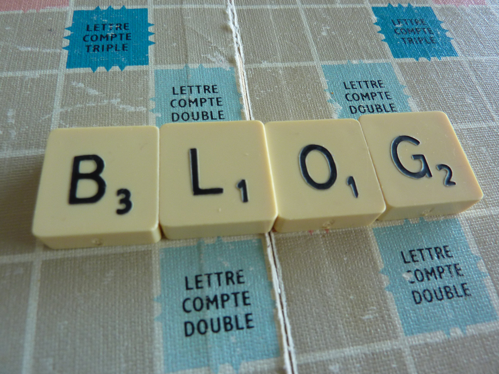The word 'blog' spelled using tiles on a Scrabble board.