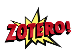 Comic-book style graphic of explosion with the word Zotero superimposed