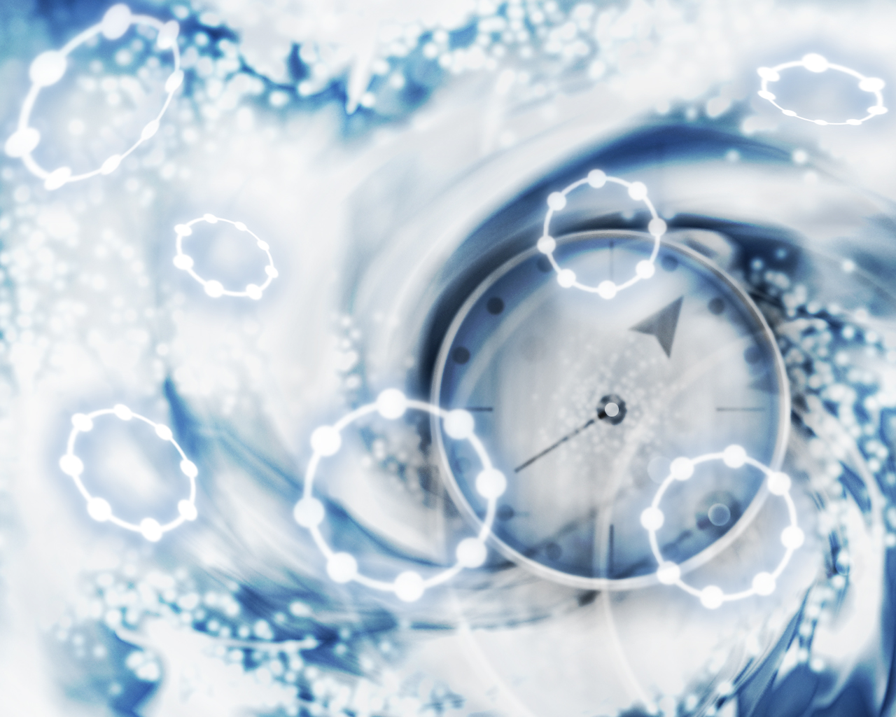 Stylized representation of time featuring a watch face surrounded by white and blue swirls; the image is overlaid with glowing circular shapes.