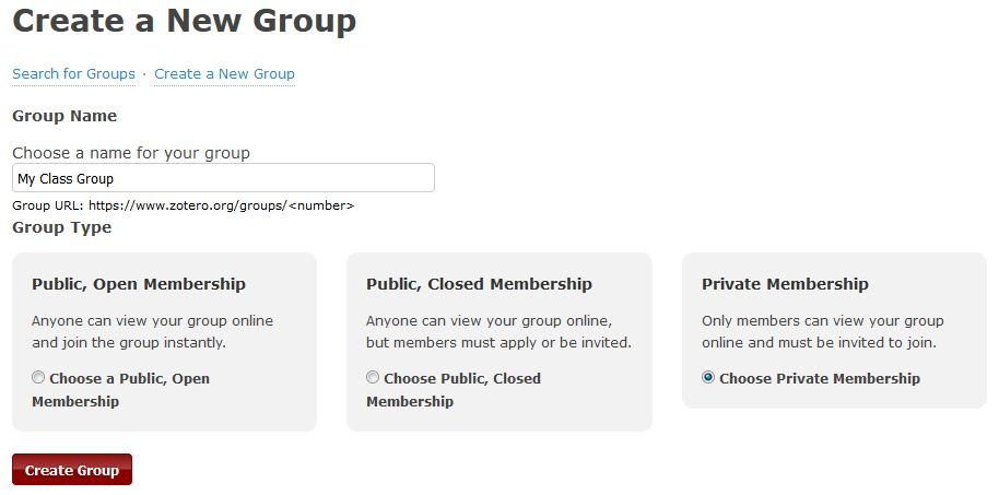 Screenshot of a web page showing the first step in creating a new Zotero group