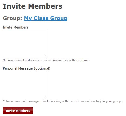 Screenshot of the Zotero page for inviting people to join the shared group.
