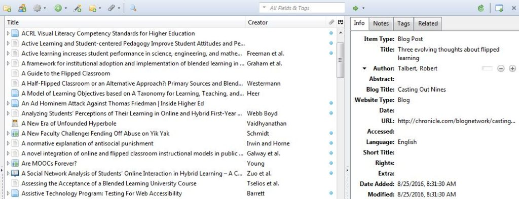 The Zotero library interface. The left pane contains the list of entries, organized by title and author. The right pane shows detailed bibliographic information for a selected item.