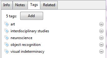 View of Zotero's tags panel, showing a series of user-supplied tags associated with an article. These are, in order: 'art', 'interdisciplinary studies', 'neuroscience', 'object recognition' and 'visual indeterminacy'